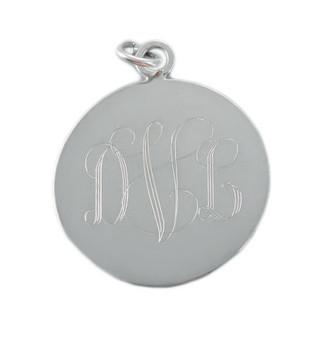 Sterling Silver Monogram Round Charm