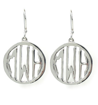 Unique Custom Sterling Silver Cutout Monogram Earrings  - 1 Inch | HandPicked