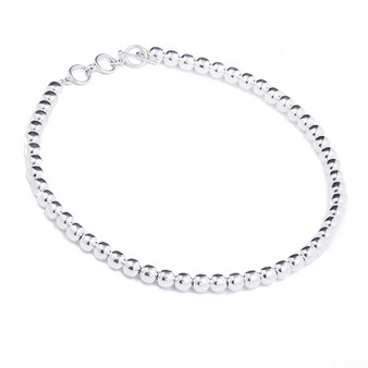 8mm Silver Bead Necklace with Toggle