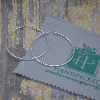 Sterling Silver 60mm Tube Hoop Earring with Clip X 2MM
