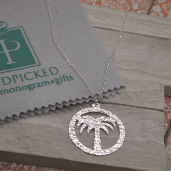 Hammered Silver Palm Pendant Necklace