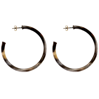 "Sheila Fajl 2"" Burnished Silver Hoops│HandPicked"