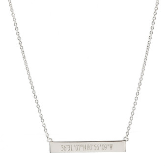 Personalized Sterling Bar Necklace - Coordinates | HandPicked