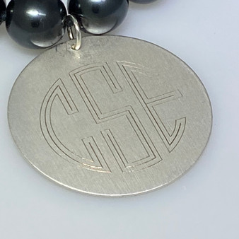 "Monogram Matte Finish Fashion 1.5"" Pendant - Fashion Silver"