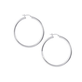 Sterling Silver Hollow 30mm Tube Hoop Earring with Clip X 3MM
