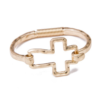 Best Seller Open Cross Latch Bangle - Fashion Gold
