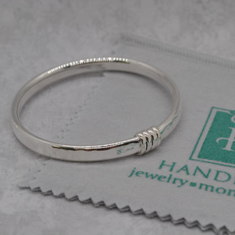 """Hammered Sterling 1/4"""" Bangle Wrapped Detail HP Exclusive"""