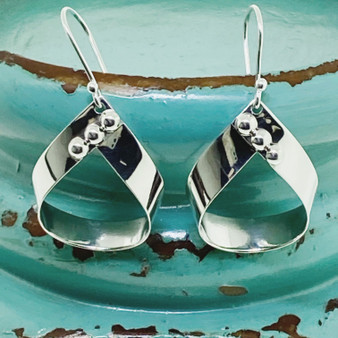 3 Bead Detail Dangle Exclusive Design - Sterling Earring