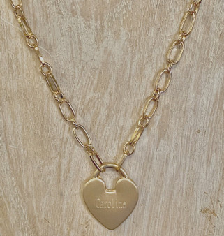 "Satin Finish Monogram Heart Necklace - 16"" + 2"" - Fashion Gold"