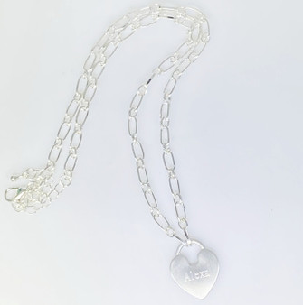 "Satin Finish Monogram Heart Necklace - 16"" + 2"" - Fashion Silver"
