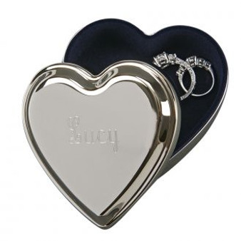 Monogram Heart Trinket & Ring Keepsake Box - Silver Plated 3.5""