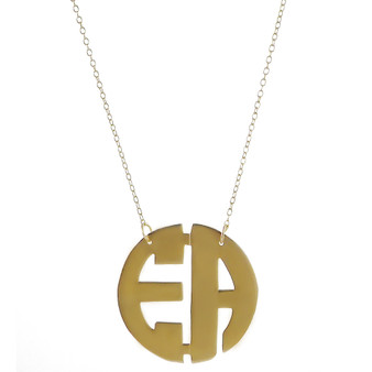 Two Initial Cutout Monogram Necklace  - Gold Plated