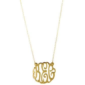 "Small Script Cutout 7/8"" Pendant Monogram Necklace - 24K Gold Plated"