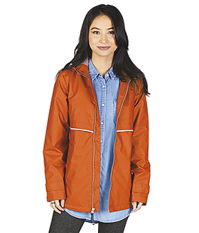 Women's Charles River New Englander Monogram Rain Jacket - Orange with Stripe Liner