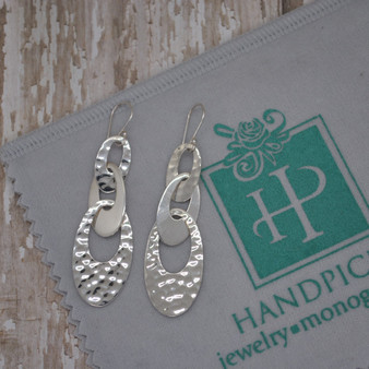 Hammered & Plain Ovals Linked Statement Sterling Silver Earrings - HP Exclusive