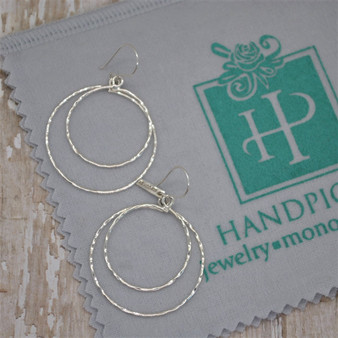 Double Hammer Circle Link on FH - Sterling Silver Earring