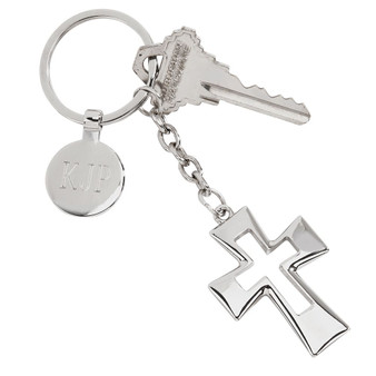 "Monogram Open Cross Key Chain, 4.75"" Silver Plated"