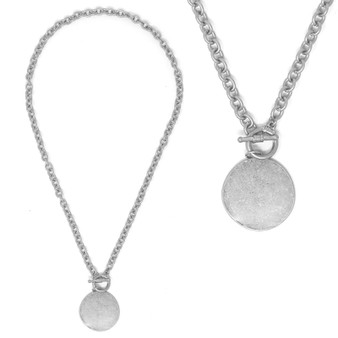 Toggle Front Monogram Necklace - Fashion Silver