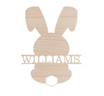 Bunny Wood Family Name Custom Wood Monogram Cutout - Home Decor