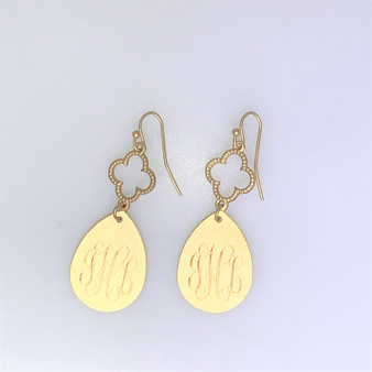 JHL -Gold Fashion Monogram Earring  - Sample Sale
