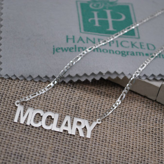 New Bold Block Name Monogram Cutout Necklace - Figaro Chain