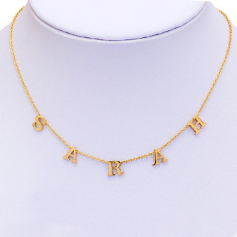 "Spaced Letter Custom Monogram Necklace on 16"" +2"" chain - 14K Gold Plated"