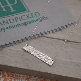 HP Exclusive Hammered Horizontal Bar Sterling Silver Necklace