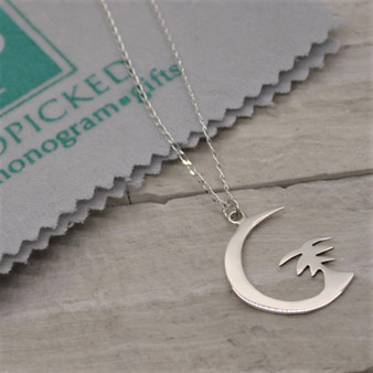 Crescent Moon with Palm HP Exclusive Sterling Silver Necklace