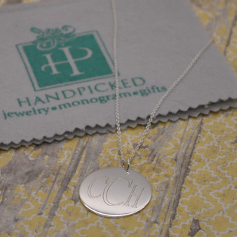 "Everyday Monogram 1.5"" Sterling Silver Disc on 16""+2"" Chain"