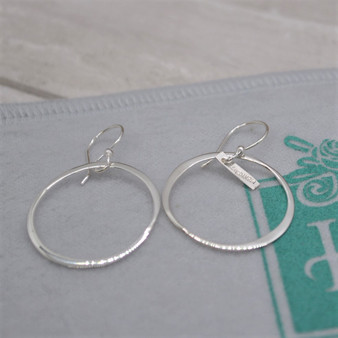 "Organic 1"" Circle Link  Sterling Silver  HandPicked Earring"