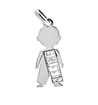 Sterling Silver Little Boy Pendant Monogram