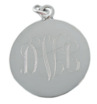 Large Sterling Silver Monogram 1.25 Inch Round Pendant