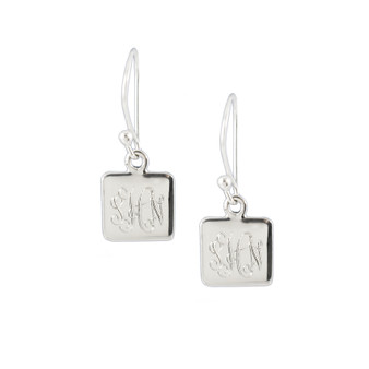 Monogram Earring - Petite Square Sterling HP Exclusive