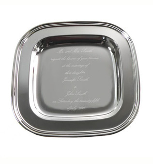 Top Selling Monogram Silver Plated Square Tray - Unique Gift