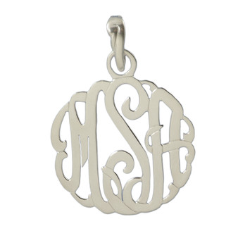 Personalized Script Cutout Pendant with Enhancer Bale - Sterling Silver