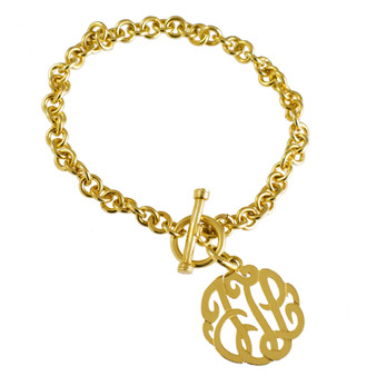 Monogram Bracelet Personalized Script Cutout Link  - Gold Plated Sterling Silver