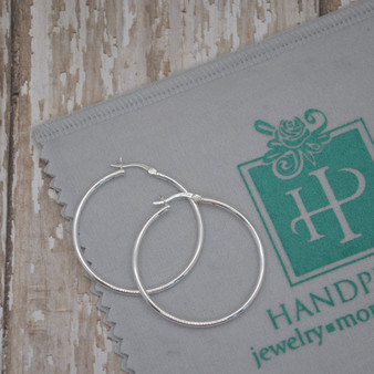 Sterling Silver 40mm Tube Hoop Earring with Clip X 2mm