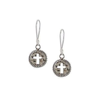 Tiny Hammer Cutout Cross Leap of Faith Earrings - HPExclusive