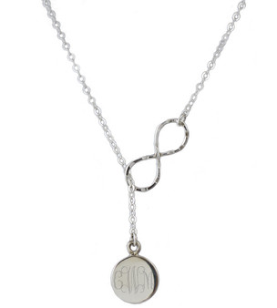 Exclusive Monogram Necklace Infinity Lariat Pull Through Disc - Sterling Silver