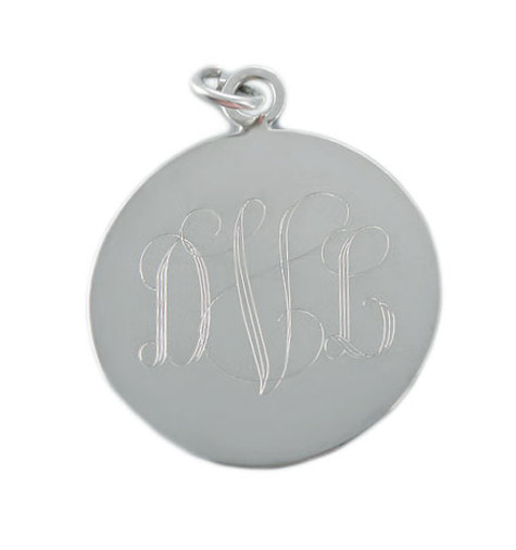 Personalized Round Silver Charm