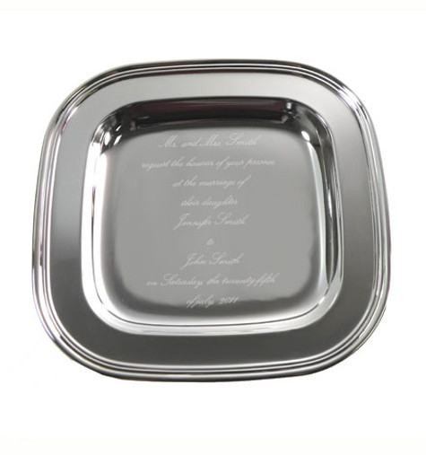 Personalized Silver Plated Square Tray