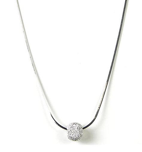 Pave' Ball Slide on Sterling Snake Necklace