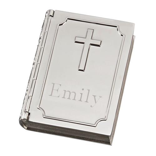 Monogram Bible Shaped Trinket Box with Cross