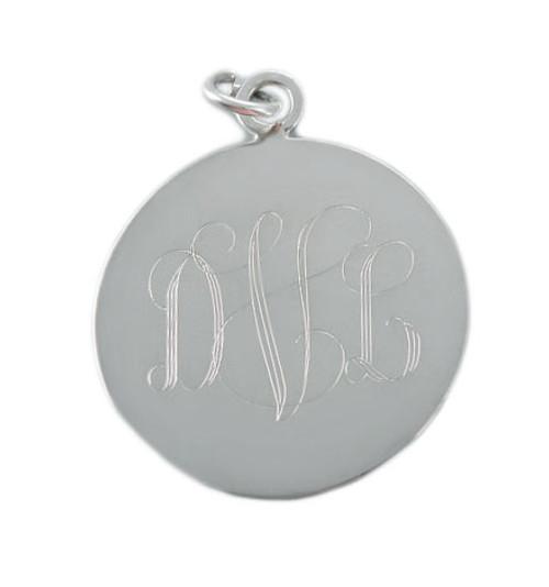 Monogram Round Sterling Silver Charm
