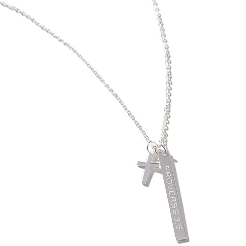 Proverbs 3:5 Bar & Cross Necklace