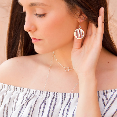 HandPicked Exclusive Sterling Monogram Cutout Earrings  - 1 Inch   HandPicked