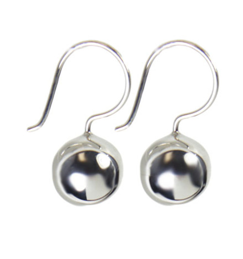 10mm Silver Bead Hook Earrings