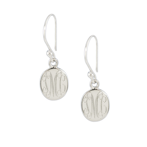 Petite HP Classic Oval Sterling Silver Monogram Earrings