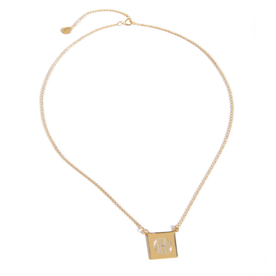 Monogram Necklace Gold Plated Square Disc Charm
