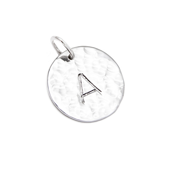 Large Hammered Single Initial Pendant│HandPicked